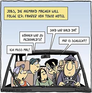 In de auto