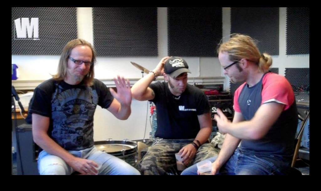Screenshot: Rainer, Slick, Tobi (v.l.n.r.) im Proberaum von Fiddler
