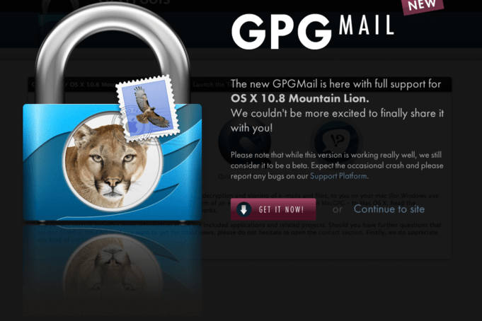 GPGMail für Mac OS X Mountain Lion