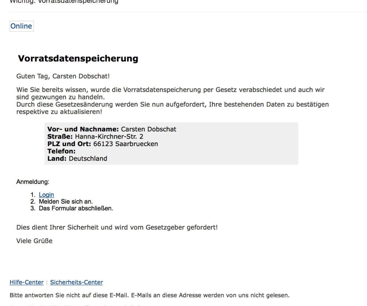 Paypal-Vorratsdatenspeicherungs-Phishing