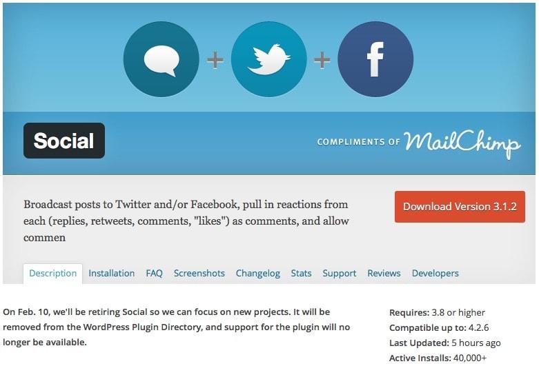 Wordpress-PlugIn Social wird eingestellt