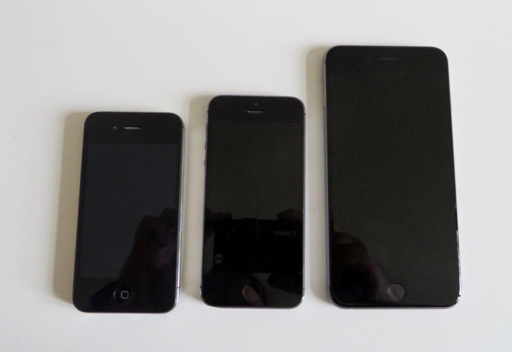 Größenvergleich iPhone 4S, 5S und 6S Plus…