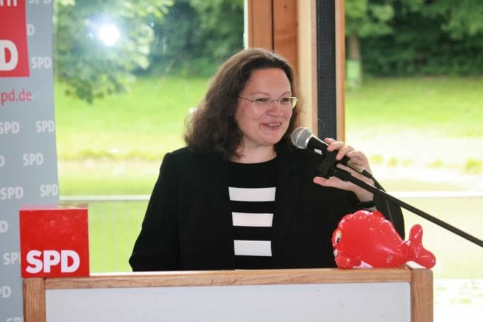 Andrea Nahles. Foto von J. Patrick Fischer - Eigenes Werk, CC-BY-SA 4.0, https://commons.wikimedia.org/w/index.php?curid=61513042
