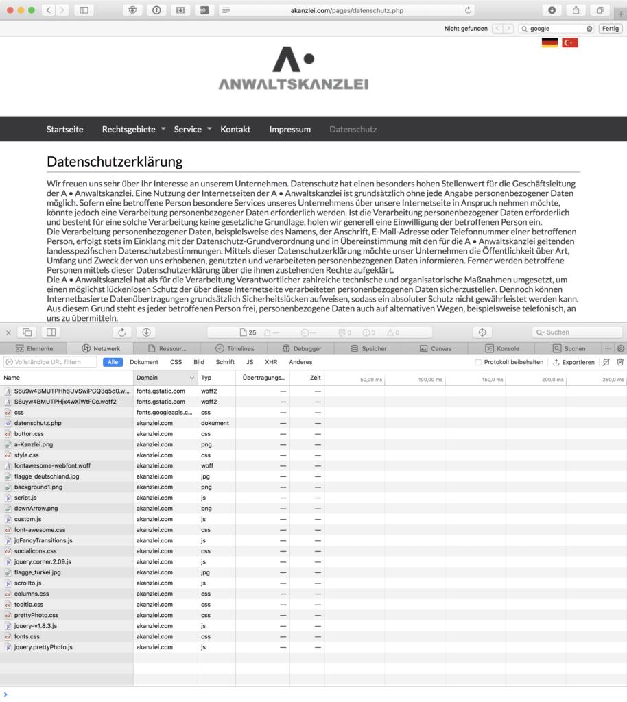 Screenshot akanzlei.com mit geöffneten Webdeveloper-Tools.