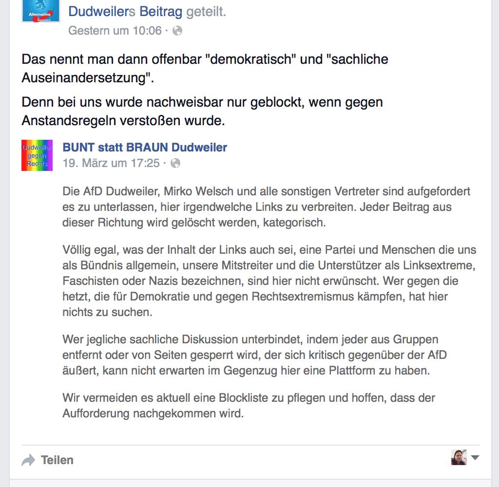 AfD Dudweiler: Andere Meinungen sind unanständig