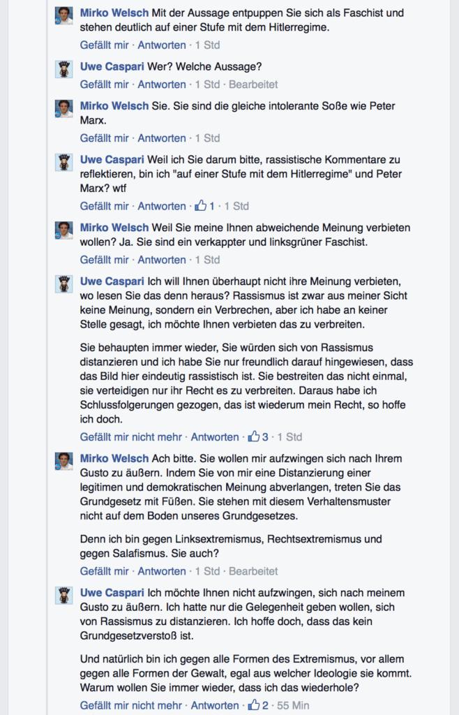 """Mirko Welsch, Rassismus und """"sachliche Diskussionen"""""""